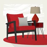 Living room scene red lounge chair and table lamp. Swanky retro living room scene with red and black mid-century modern lounge chair, table and lamp. Flat style Stock Image