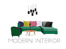 Living room scene, vector,. Living room scene in trendy colors . vector elements Royalty Free Stock Photo