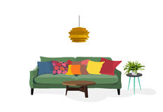 Living room scene, vector,. Living room scene in trendy colors . vector elements Royalty Free Stock Photos