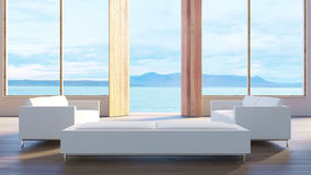 Living room sea view villa / 3d render image Royalty Free Stock Photo