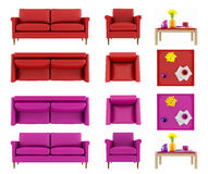 Living room set. Furniture set for living room isolated on white in two colors with clipping path - rendering Royalty Free Stock Image