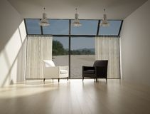 Living room with sight on the sea Royalty Free Stock Images
