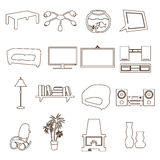 Living room simple outline icons set eps10. Living room simple outline icons set Royalty Free Stock Images