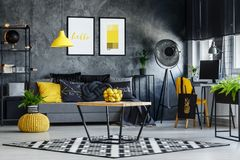 Living room with simple table. Citrus in bowl on simple table on black and white carpet in living room with plant in pot on yellow pouf Royalty Free Stock Images