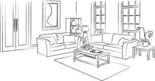 Living Room Sketch and Outline Vector Illustration. For many purpose such as display on website, blog, and magazine or book, print on canvas, paper, stationery stock illustration