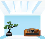 Living room with a sofa. On a blue background Stock Image