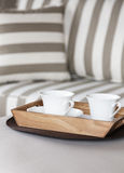 Living room sofa and coffee. Close up Stock Photography