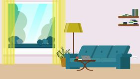 Living room with a sofa, coffee table, window overlooking the trees, bookshelves with books. Flat illustration. The interior of the living room with a sofa, a royalty free illustration