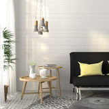 Living room with sofa and concrete chandelier Royalty Free Stock Images