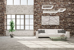 Living room with sofa 3d rendering Stock Image