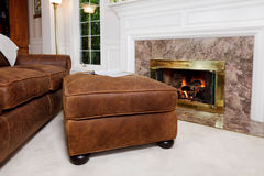 Living room sofa and fire Stock Photo