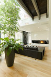 Living room with sofa and fireplace Royalty Free Stock Photo