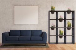 Living room with sofa ,flowers, concrete wall ,wooden floor royalty free illustration