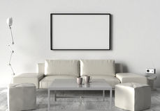 Living room, sofa, two stool and table. On the wall of an empty Royalty Free Stock Photography