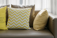 Living room with sofa and yellow pillows Stock Image