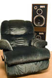 Living Room Sound System. With reclining chair, isolated against a white background stock images