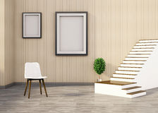 Living room and staircase Minimal Royalty Free Stock Photos