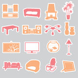 Living room stickers. Set eps10 Royalty Free Stock Image