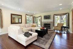 Living room with stone fireplace Royalty Free Stock Image