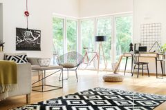 Living room with study space Stock Image