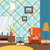 Living room in the style of the 70's. Stock Photography