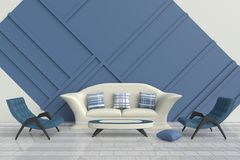 Living room for teens and happy family. Blue and white living room are decorated with cream sofa, blue and white pillows, green arm chair, White floor tiled Royalty Free Stock Image