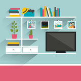 Living room with television and book shelves. Royalty Free Stock Image