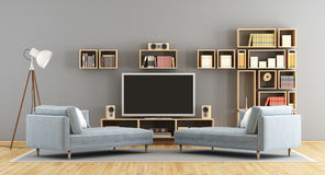 Living room with television set and bookcase Stock Image