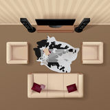 Living Room Top View Realistic Image royalty free illustration