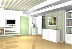 Living room with traditional materials in modern forms. Combination of modern and traditional styles Stock Photography