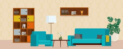 Living room with turquoise sofa and armchair Stock Images
