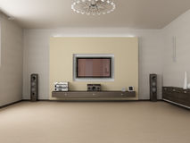 Living room and TV. Modern interior of living room 3D Stock Photography