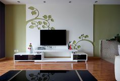 Living room with TV stock photos