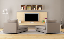 Living room with tv Royalty Free Stock Photos