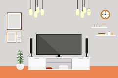Living-room with tv modern design home set. Interior illustration vector Royalty Free Stock Photography