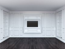 Living room with tv shelf and mirrors. White interior Stock Image