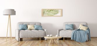 Living room with two armchairs 3d rendering Stock Image