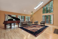 Living room with two story window Royalty Free Stock Photo