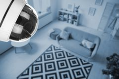 Living room under CCTV camera surveillance. Above view stock photo