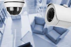 Living room under CCTV cameras surveillance. Above view stock photos
