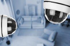 Living room under CCTV cameras surveillance. Above view stock image