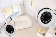 Living room under CCTV cameras surveillance. Above view royalty free stock images