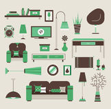 Living room vector. Set of vector icons for living room Stock Images