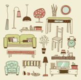 Living room vector. Set of vector icons for living room Stock Photo