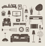 Living room vector. Set of vector icons for living room Royalty Free Stock Photography