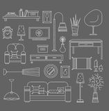 Living room vector. Set of vector icons for living room Stock Image