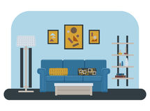Living room vector. Living room design: sofa, shelf with books and other decor elements, table, floor lamp and pictures. Flat style vector illustration Royalty Free Stock Photography