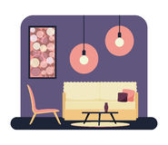 Living room vector. Flat style vector illustration of a living room with modern furniture Stock Photo