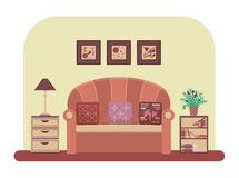Living room vector. Living room interior design with modern furniture: sofa, table lamp, bookcase, pictures, drawer unit, Flat style vector illustration Royalty Free Stock Photography