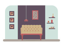 Living room vector. Modern living room interior with different decoration elements. Flat vector illustration Royalty Free Stock Image